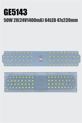 GE5143 50W 2x(24V 1000mA) 64LED 6550lm 239x47mm